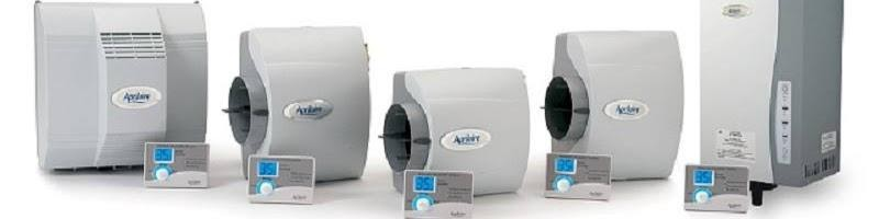Line up of multiple whole-home Aprilaire humidifiers that control the moisture in your home, installed by Dalco Heating & Air in Denver.