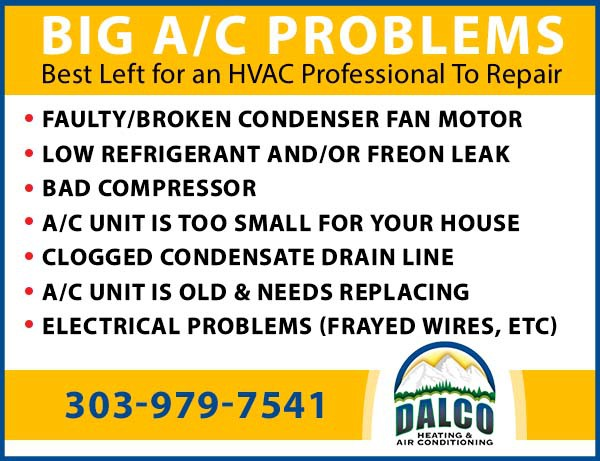 Graphic image showing the variety of broken ac problems you should call a professional HVAC professional to fix, like Dalco Heating & Air Conditioning in Denver